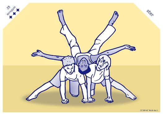 3 kinderen doen een acrobatiek oefeningen