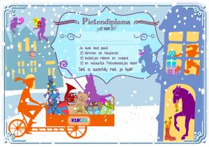 Kleurrijke silhouetten in de sneeuw. Sinterklaas en Piet op de bakfiets met allemaal kado's. Één Piet klimt omhoog. In huis staat het paard dat een worteltje eet.