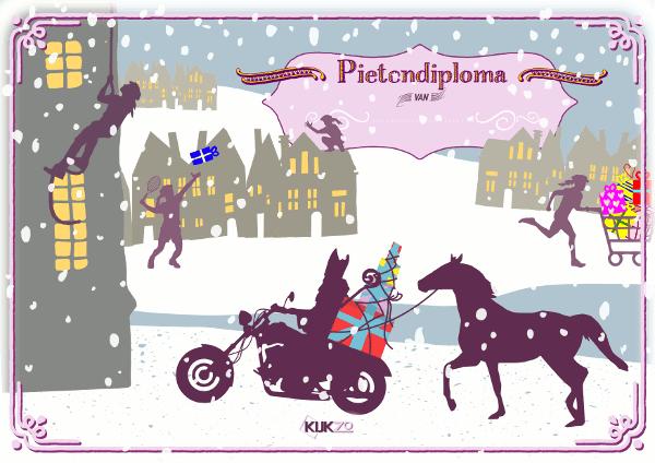 Sinterklaas op een motor, het paardje loopt erachteraan en pieten die klimmen en kado's rondbrengen. Het kleurrijke pietendiploma voor 2018.